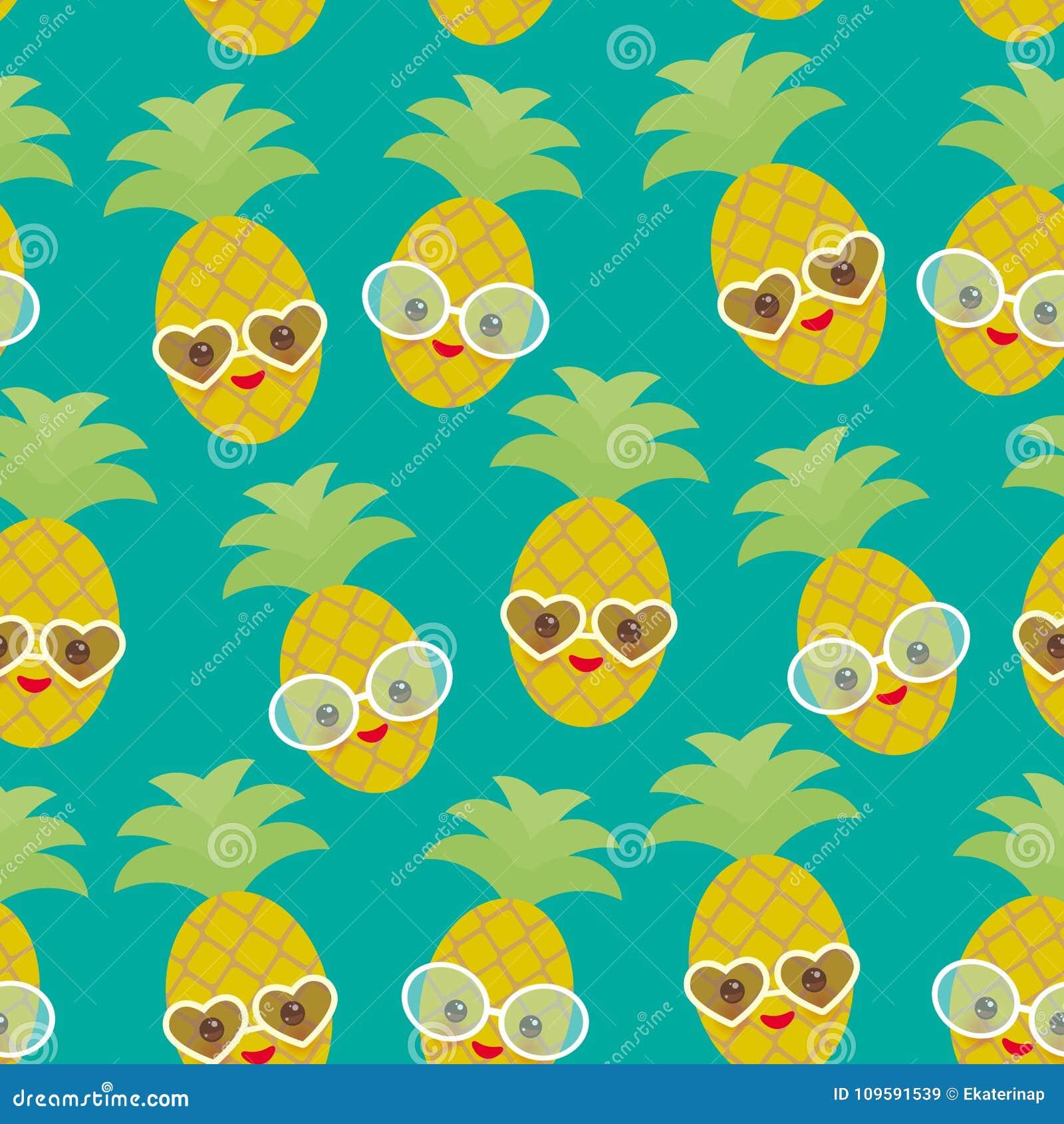 Naadloze exotische het fruitananas van patroon leuke grappige kawaii met zonnebril op blauwe achtergrond Hete de zomerdag, pastel