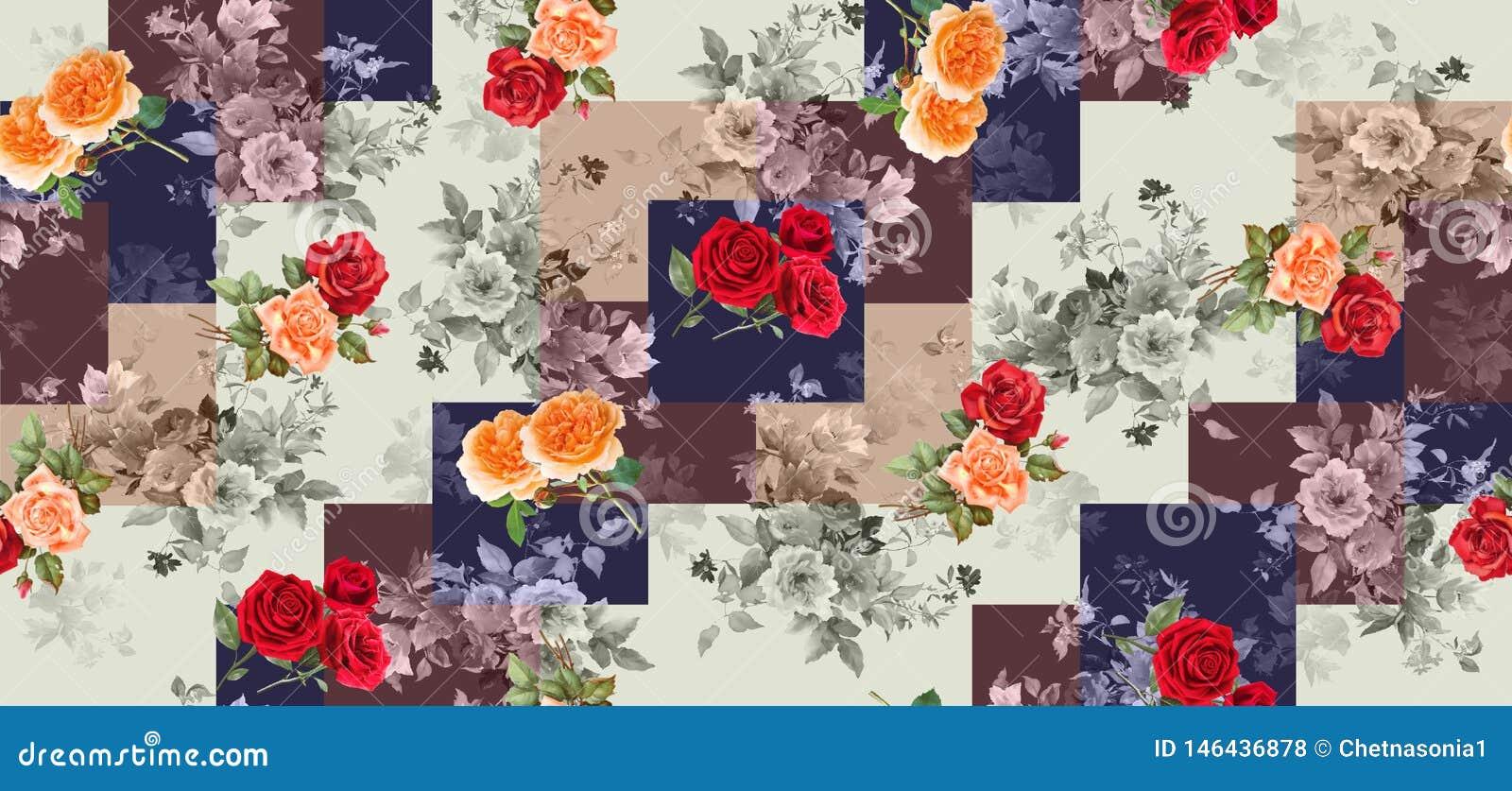 Naadloze geometrische uitstekende achtergrond met bloemen