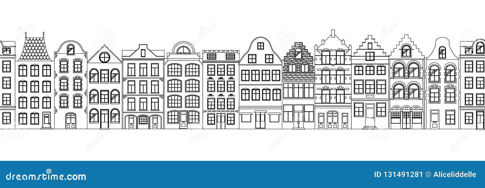 Naadloze Grens van Leuke retro huizenbuitenkant Inzameling van Europese de bouwvoorgevels Traditionele architectuur van
