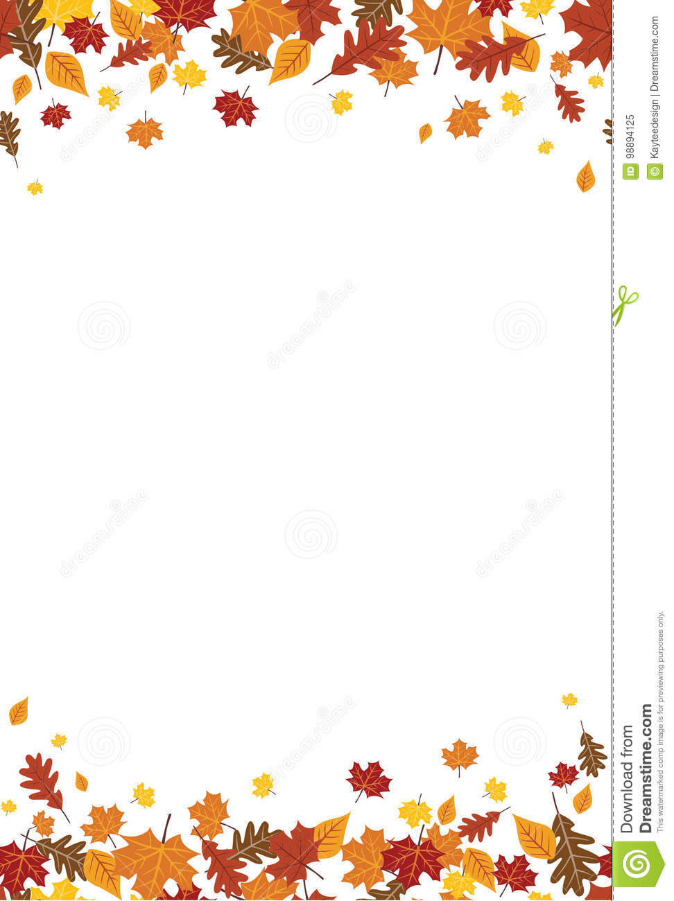 Naadloze Heldere Daling Autumn Leaves Vertical Border 1