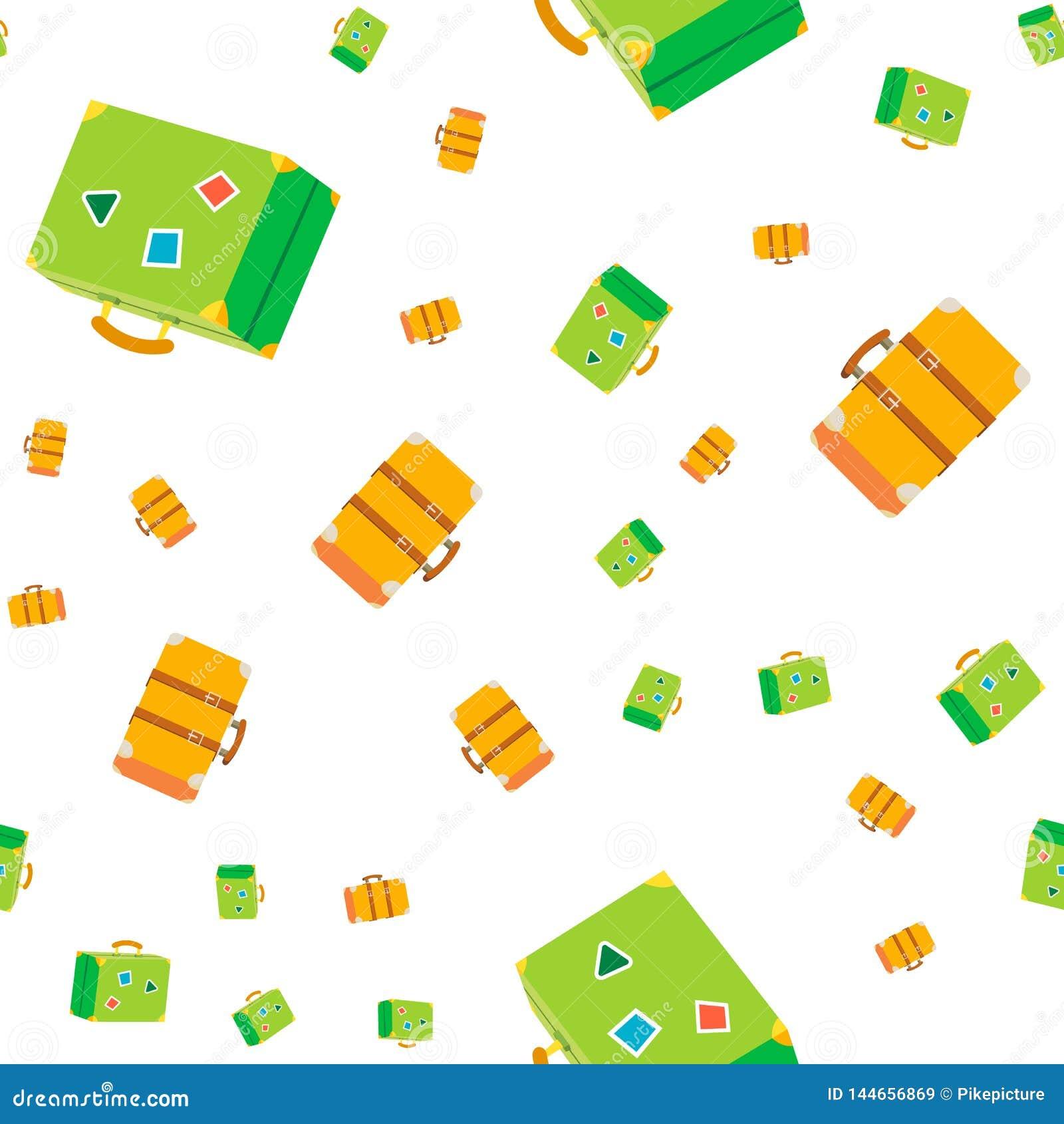 Naadloze het Patroonvector van de reiskoffer De zomerbagage Reis, Toerisme Leuke Grafische Textuur textielachtergrond