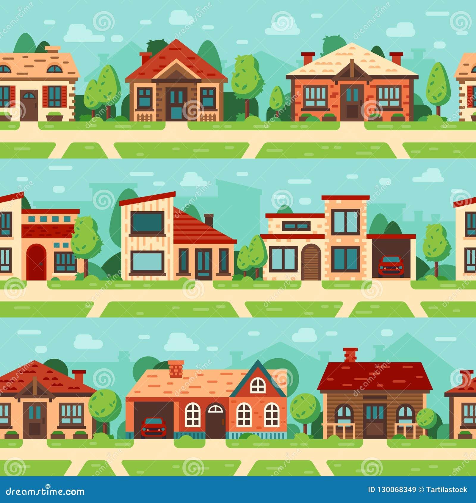 Naadloze huizen in de voorsteden Panoramische cityscape met huisbuitenkant, gebouwen en van de stadsweg vlakke vectorreeks als ac