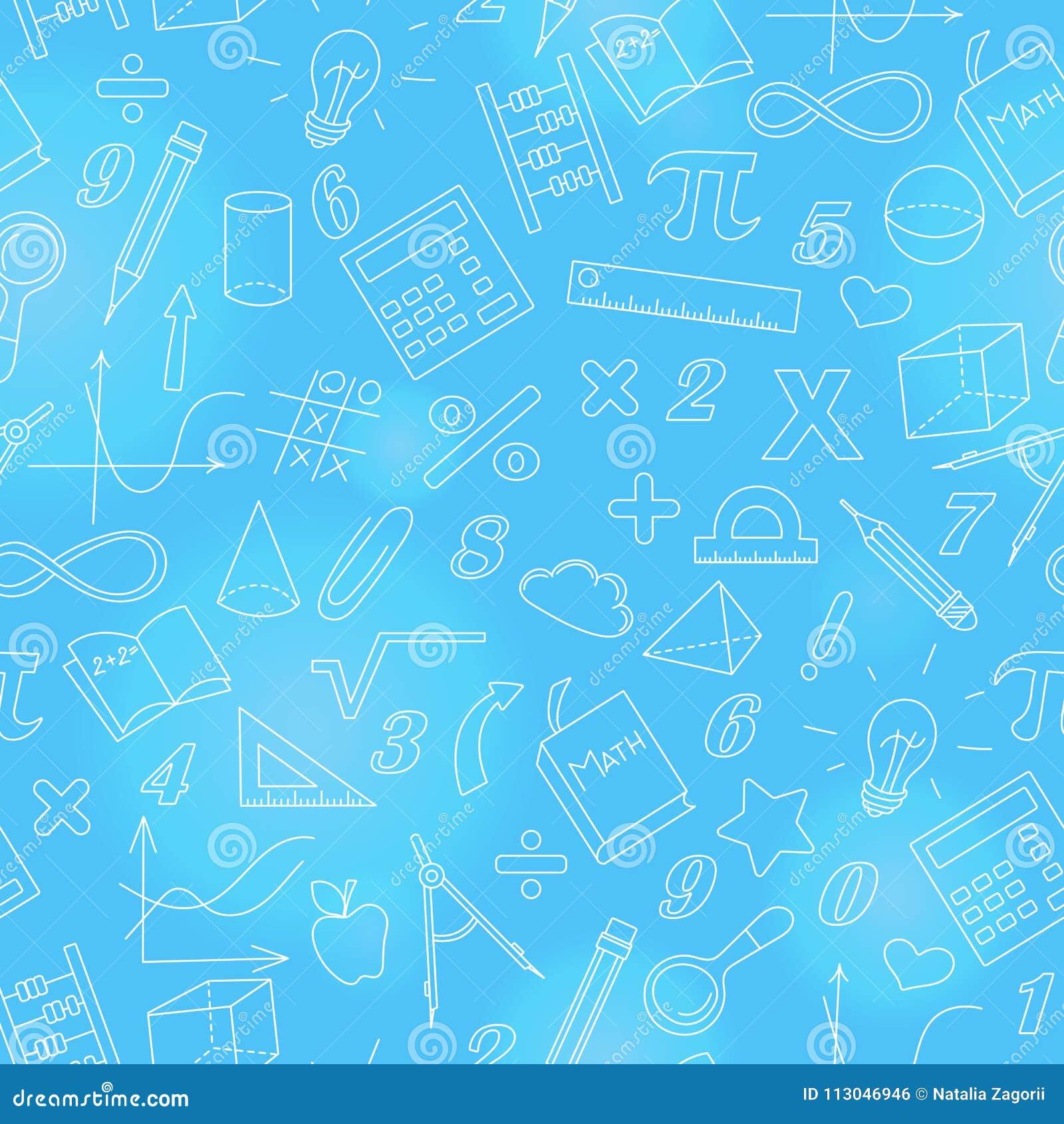 Naadloze illustratie met eenvoudige pictogrammen op het thema van wiskunde en het leren, helder overzicht op een blauwe achtergro