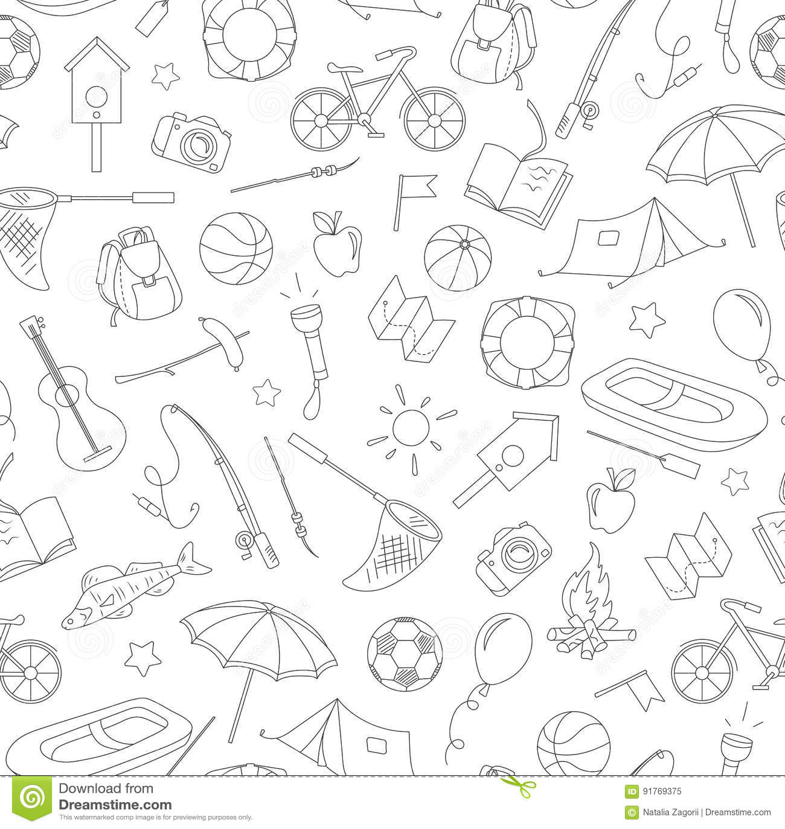 Naadloze illustratie op het thema van de zomerkamp en vakanties, eenvoudige contourpictogrammen, zwarte contour op witte achtergr