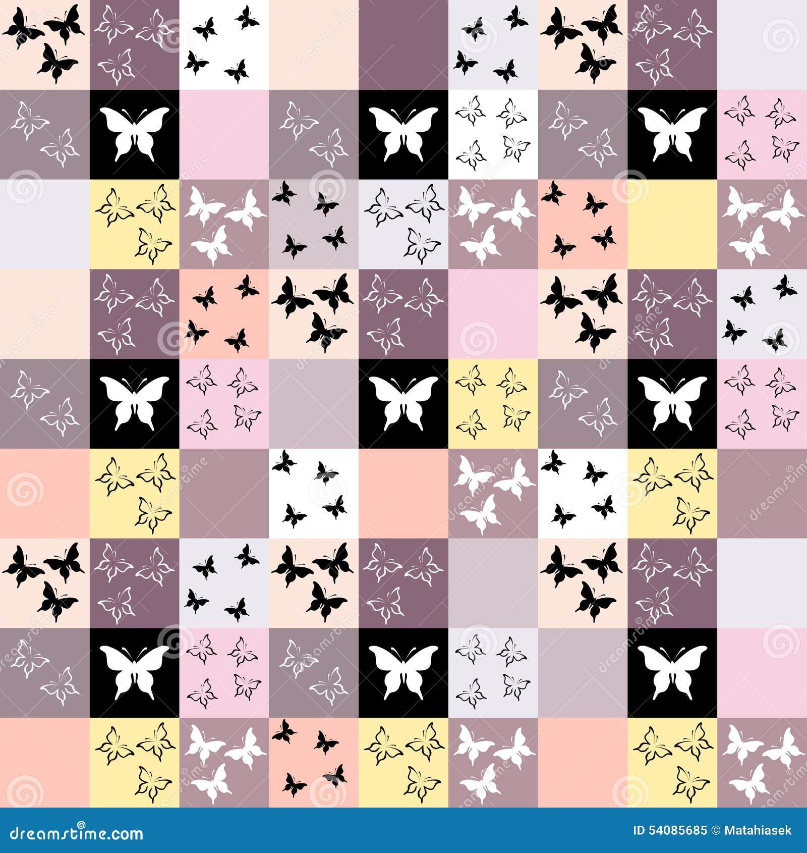 Naadloze mozaïekachtergrond met vlindermotief