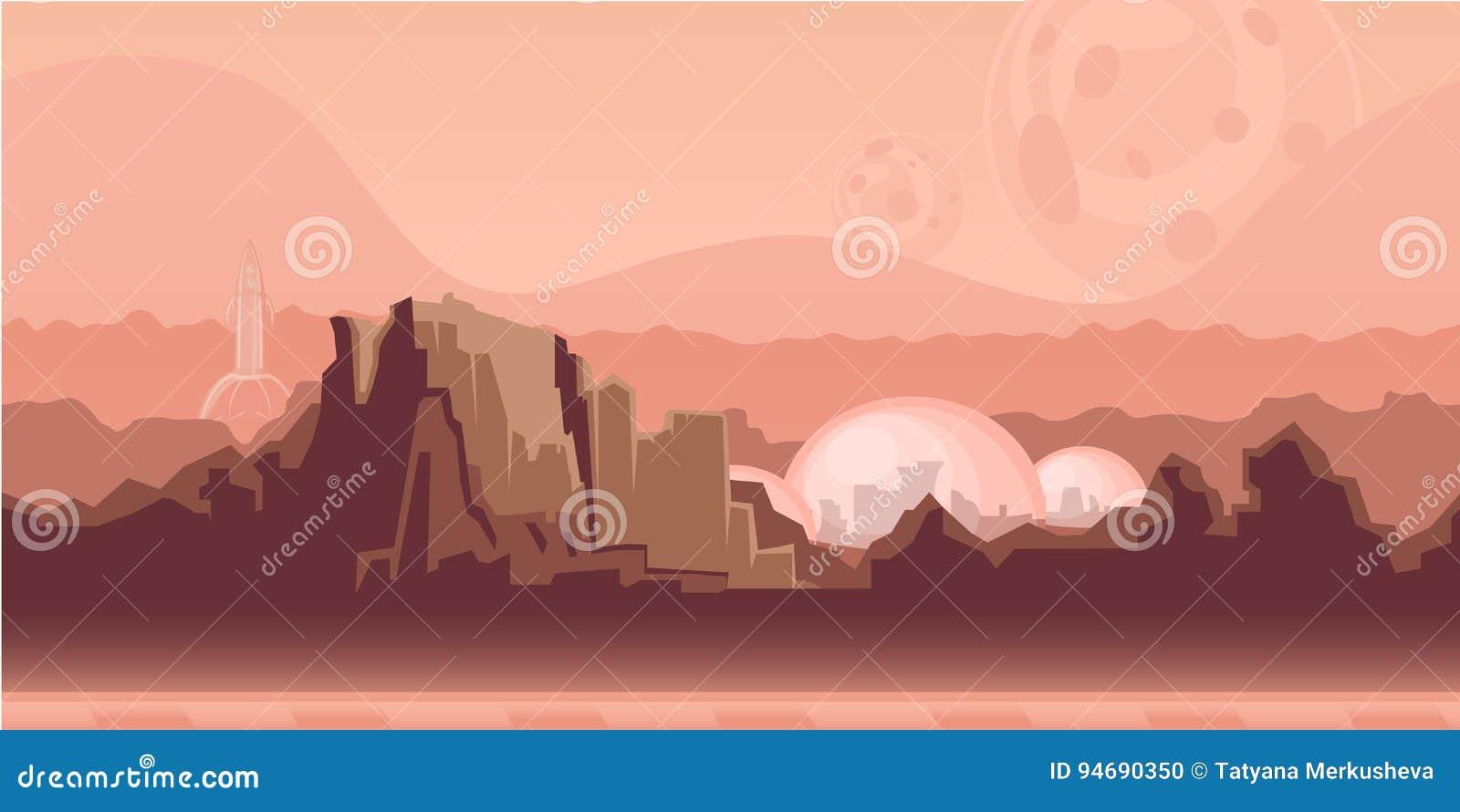 Naadloze oneindige achtergrond voor spel of animatie Oppervlakte van de planeet Mars met bergen, ruimteregeling en