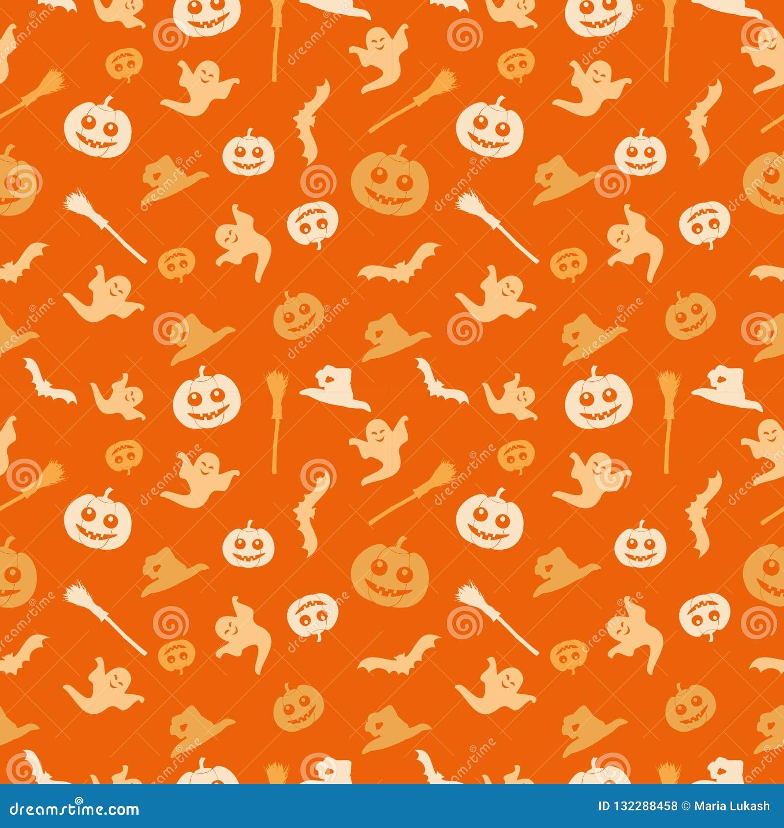 Halloween Thema.Naadloze Oranje Achtergrond Met Een Halloween Thema De