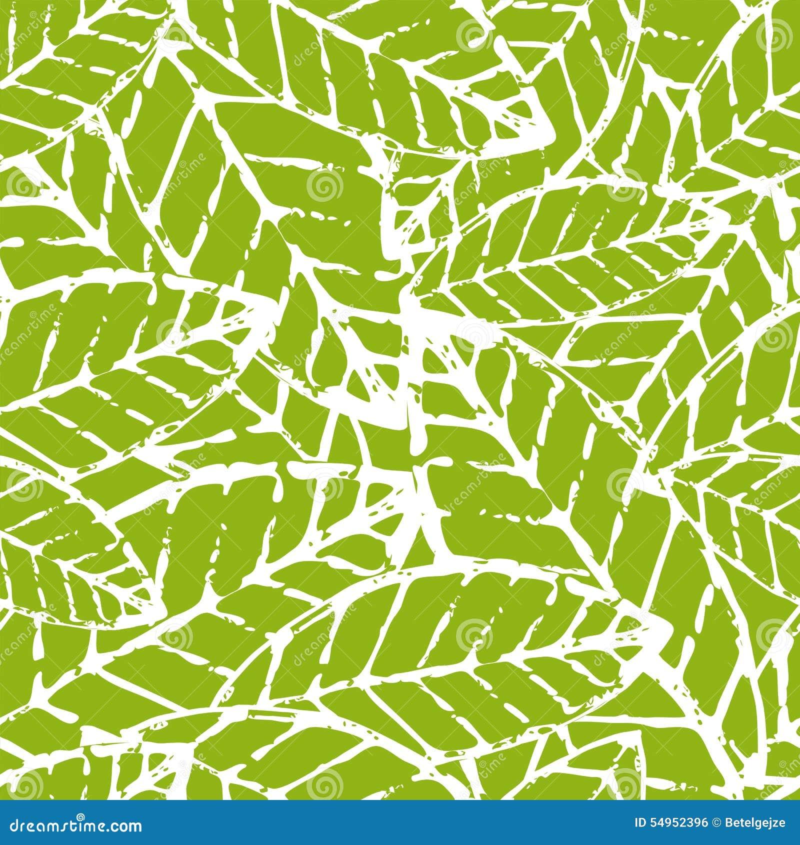 Naadloze patroon van het waterverf het hand getrokken vectorblad Abstracte gru