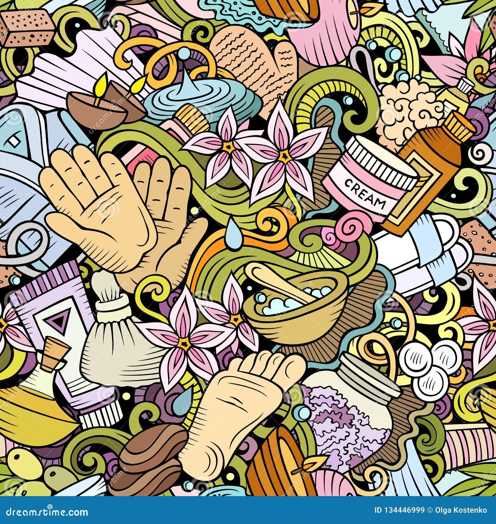 Naadloze patroon van massage het hand getrokken krabbels De achtergrond van de kuuroordtherapie