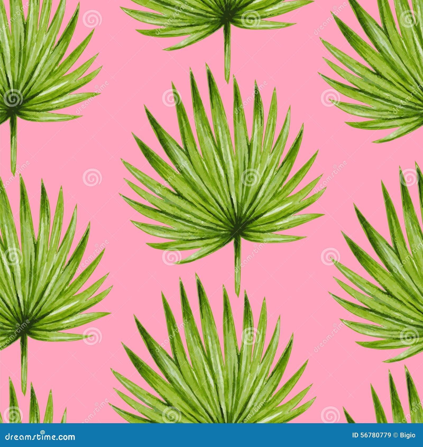 Naadloze patroon van waterverf het tropische palmbladen