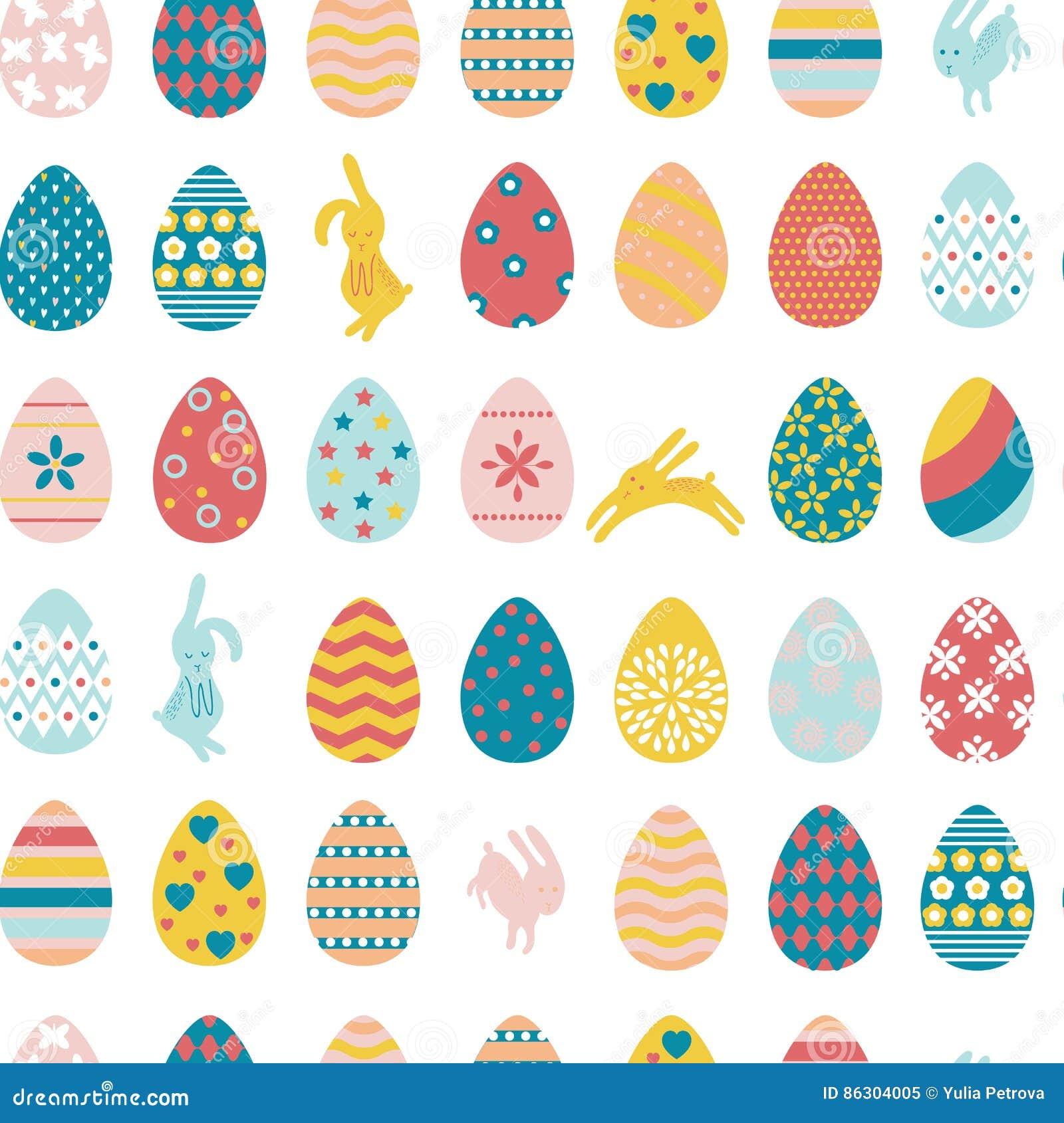 Naadloze patroonpaaseieren en konijnen