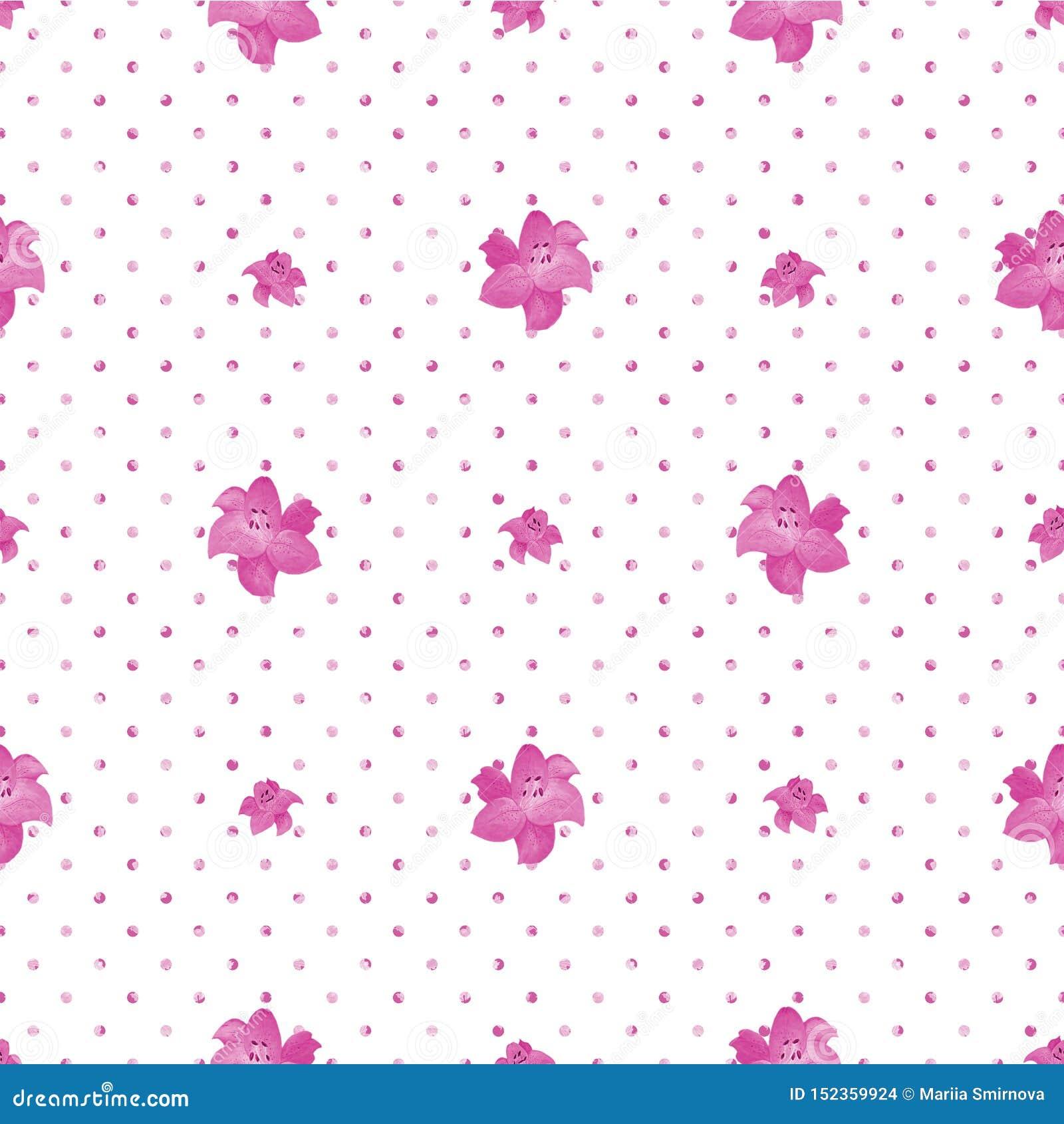 Naadloze Polka Dot Texture met leliebloemen Witte achtergrond