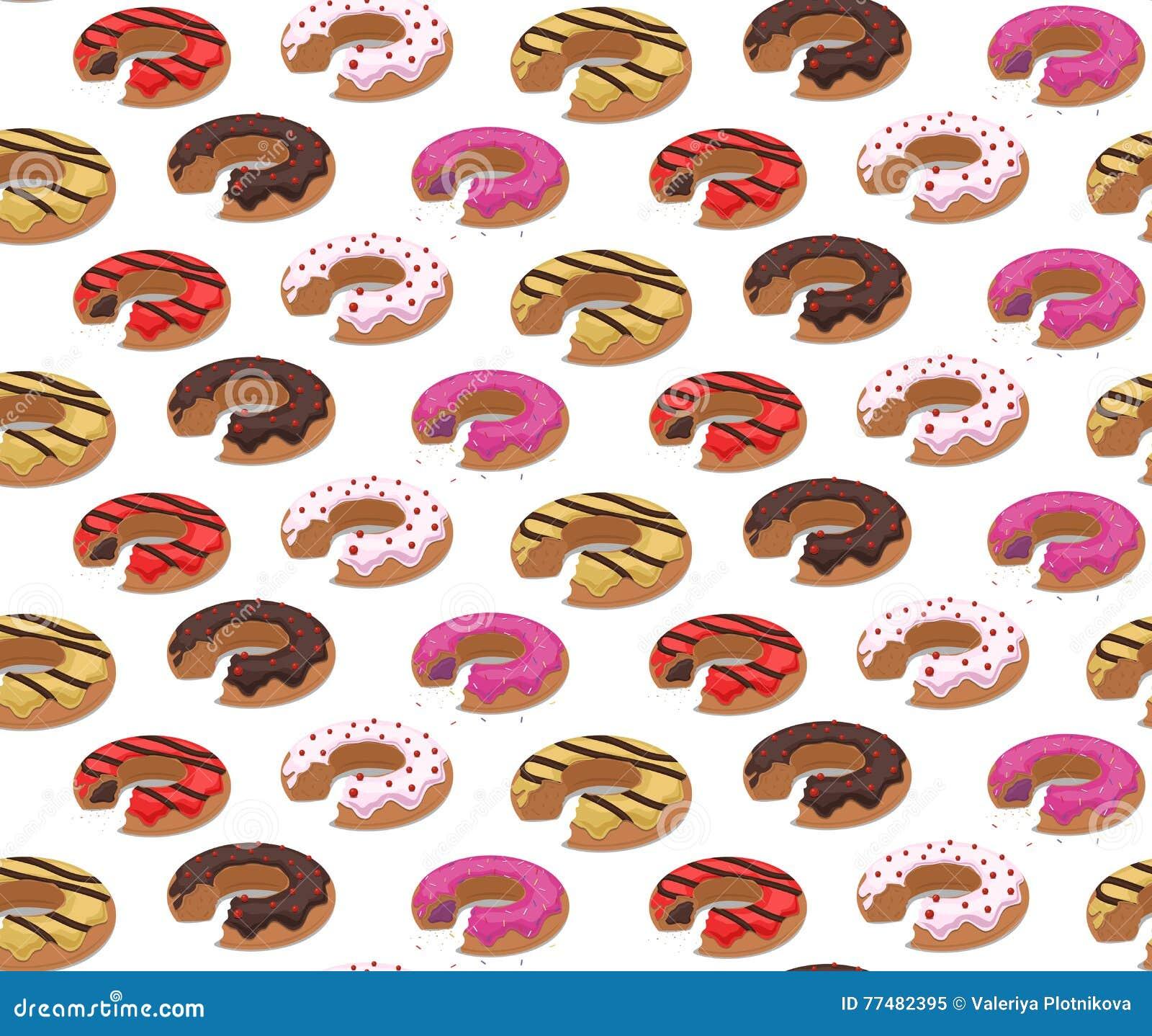 Naadloze textuur met een beet donuts in de glans en het gruis