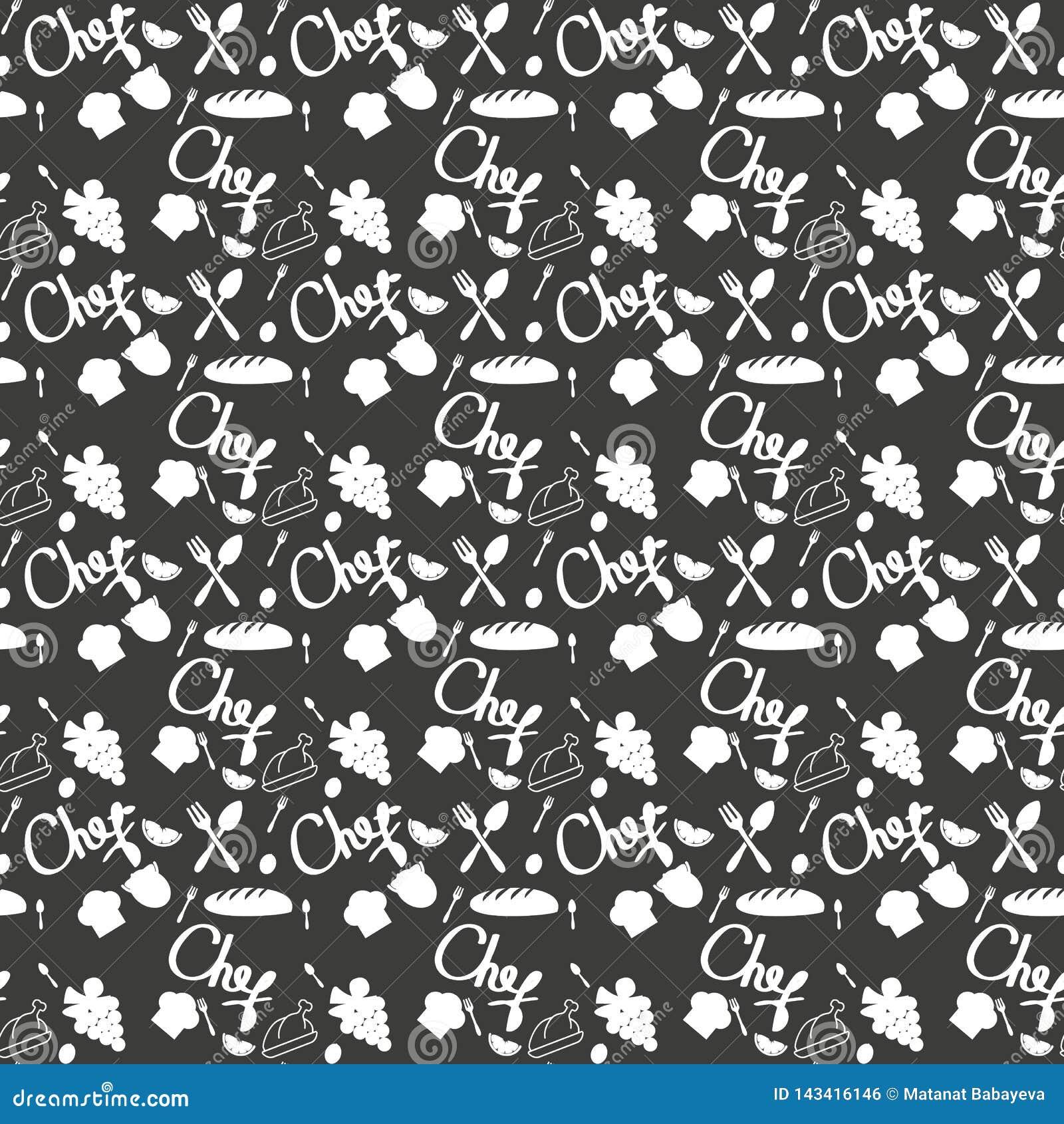 Naadloze textuur met van de schetswerktuigen van de keukenkrabbel hand-drawn met krijt op bord Kan voor behang worden gebruikt