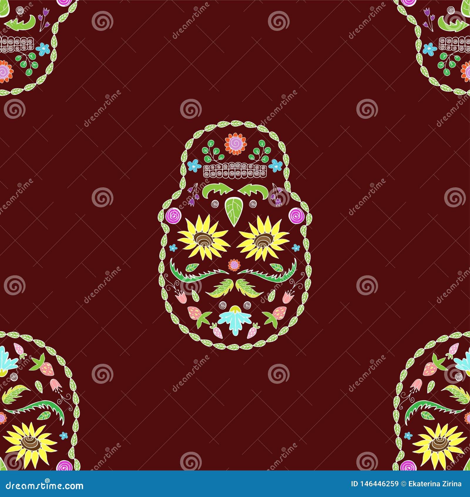 Naadloze textuur van het beeld van de schedelsbloem