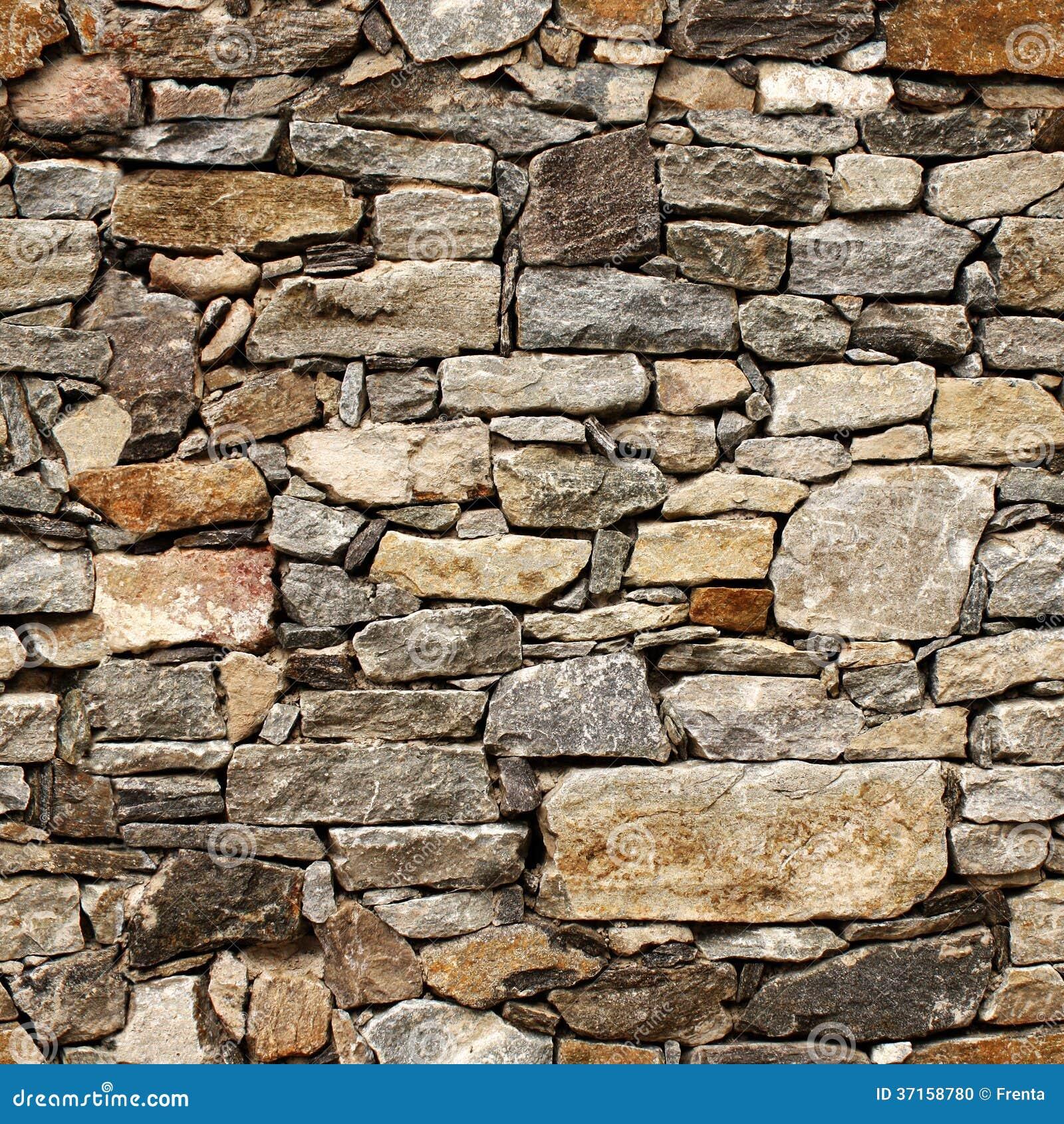 Naadloze Textuur Van Middeleeuwse Muur Van Steenblokken