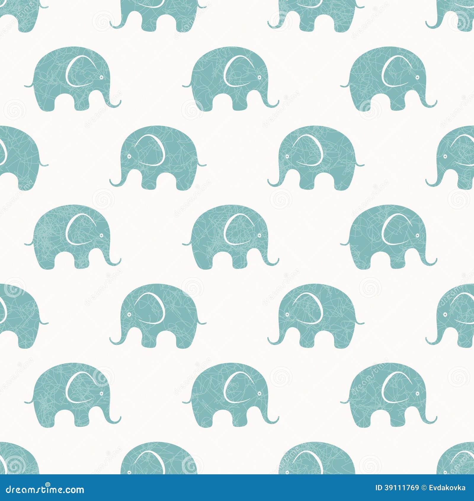 Naadloze vectordruk met leuke kleine olifanten