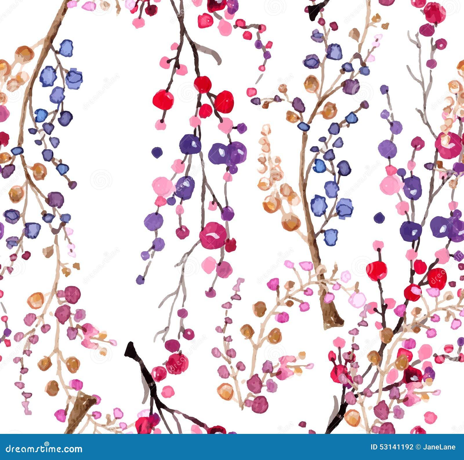 Naadloze waterverf bloemenachtergrond