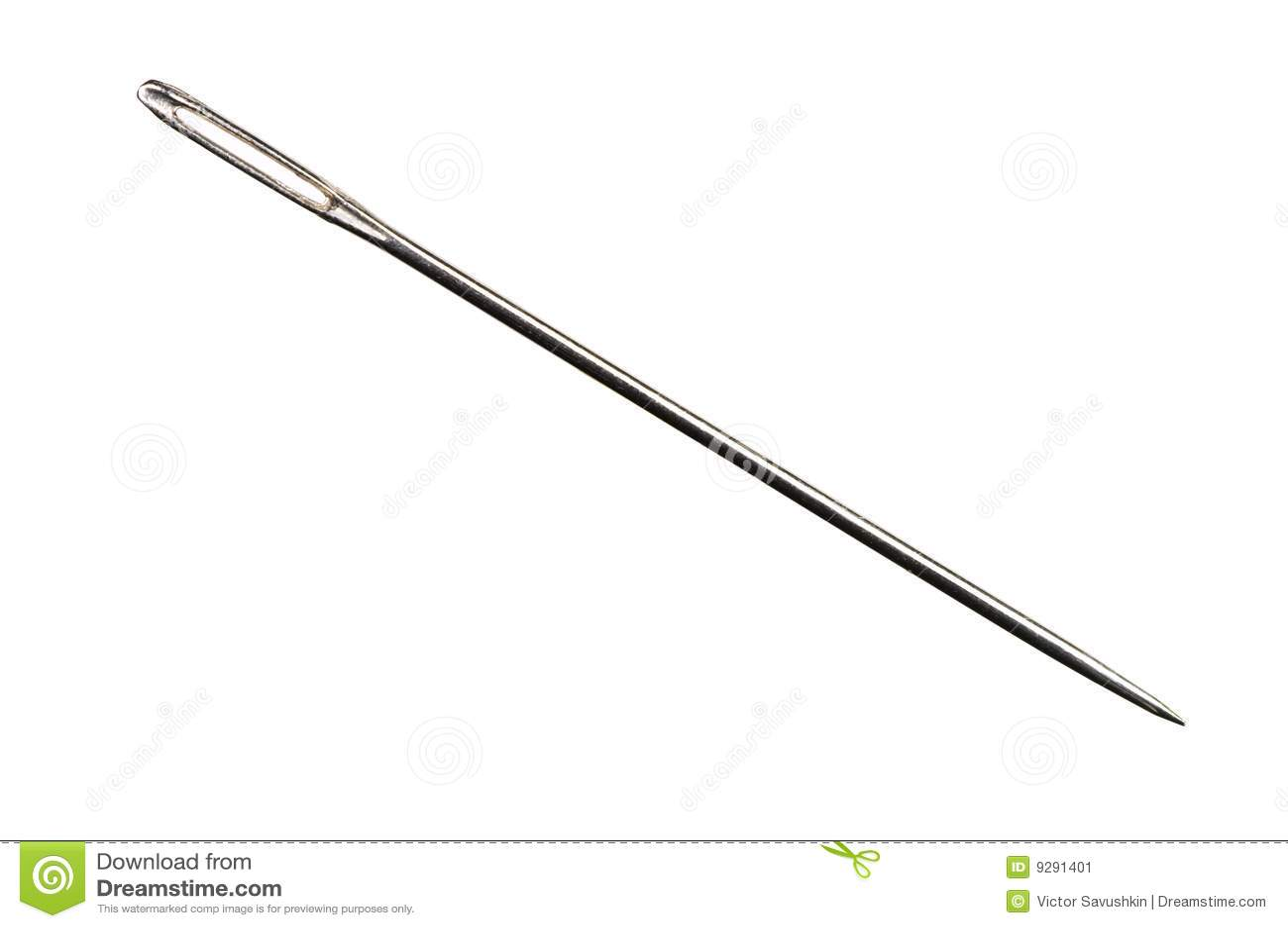 Naaiende naald die op witte achtergrond wordt geïsoleerde