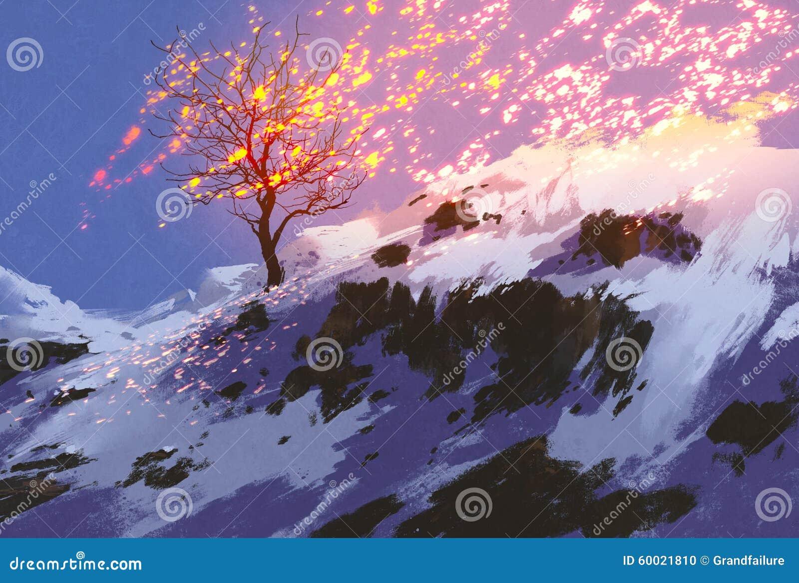 Naakte boom in de winter met gloeiende sneeuw