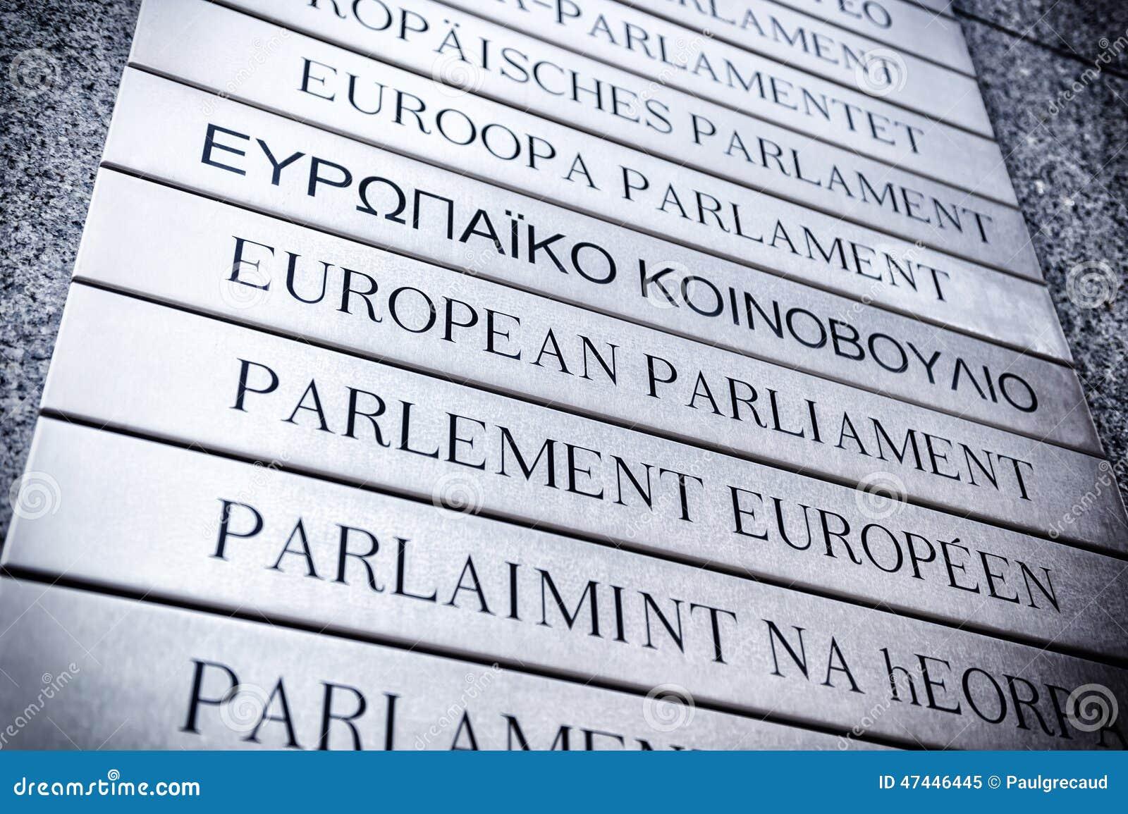 Naambord voor het Europees Parlement Brussel, België