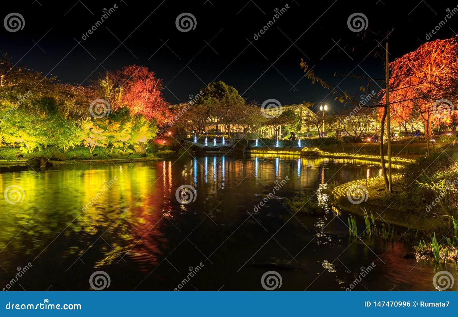 Nabana n?o Sato, festival claro em Nagashima, Mie Prefecture jap?o