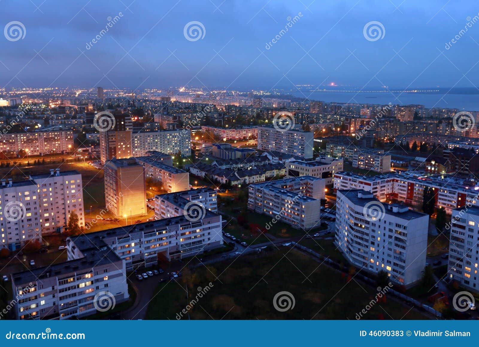 Download Naberezhnye Chelny, Russia - October 7, 2014: City night L Stock Image - Image of downtown, area: 46090383