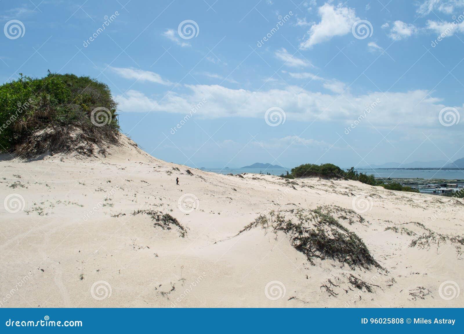 Nabrzeżny krajobraz z diunami i miasteczko blisko Nha Trang, Wietnam