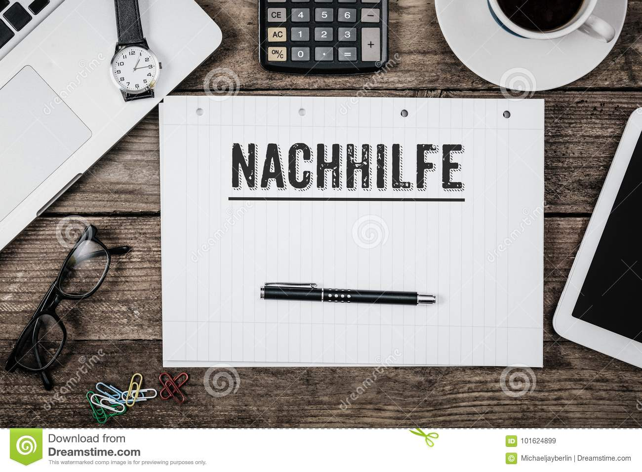 nachhilfe german for private lessons on notepad stock image image 101624899. Black Bedroom Furniture Sets. Home Design Ideas