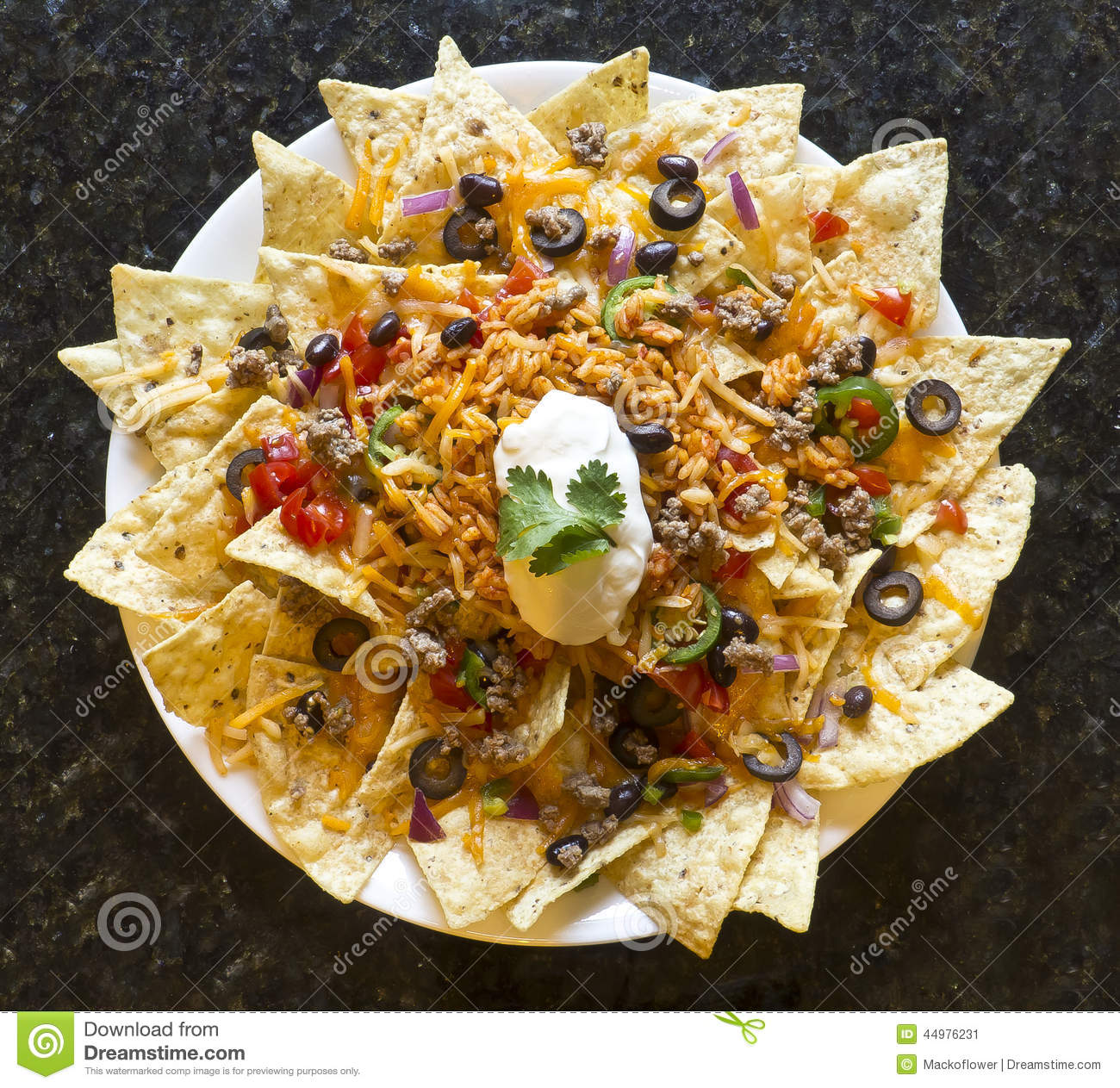 Nachos With Rice And Sour Cream Stock Photography ...