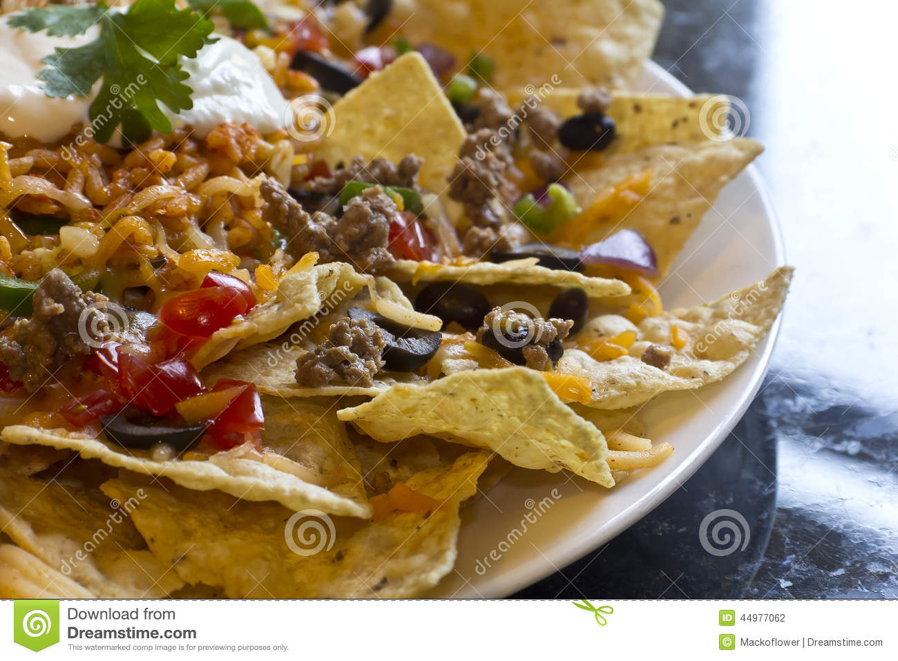 Nachos With Rice And Sour Cream Stock Photo - Image: 44977062
