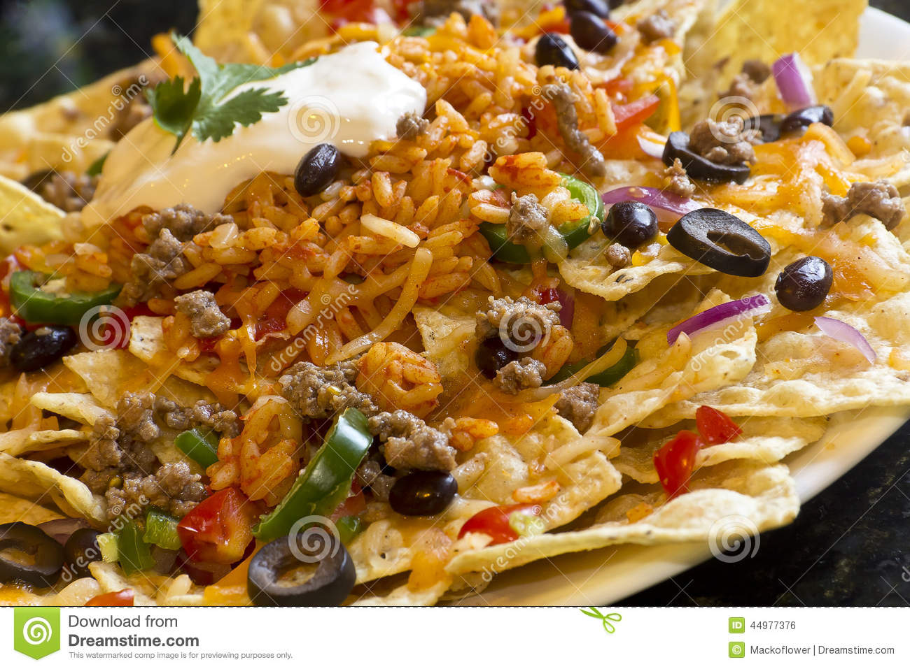 Nachos With Rice And Sour Cream Stock Photo - Image: 44977376