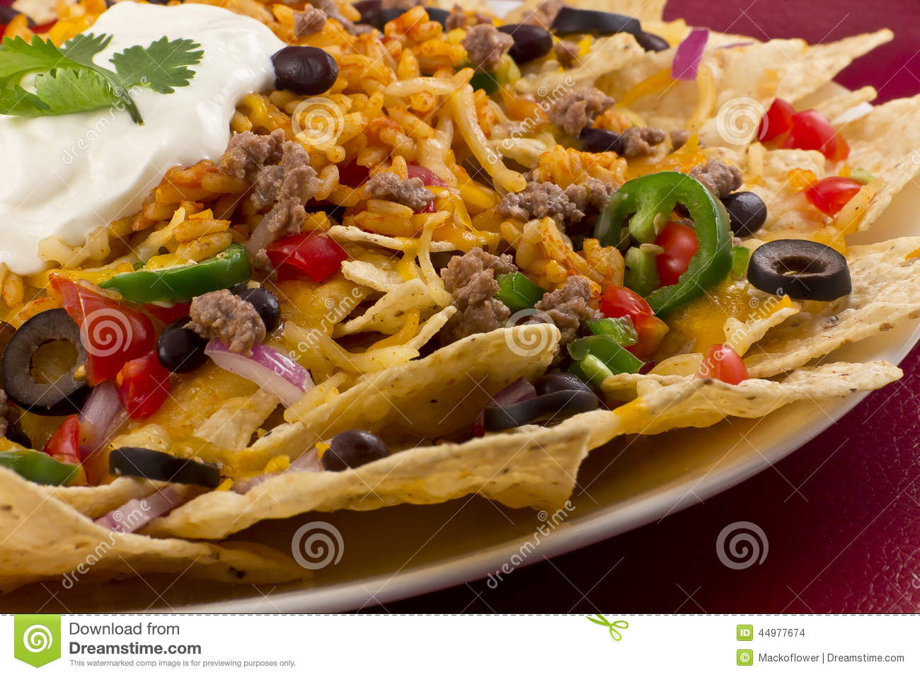 Nachos With Rice And Sour Cream Stock Photo - Image: 44977674