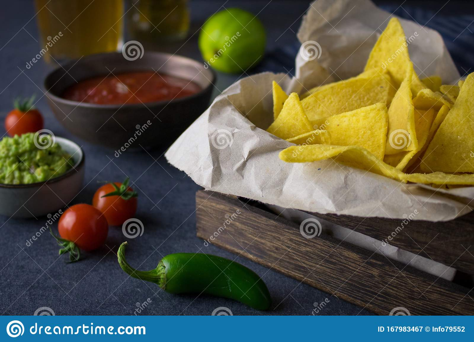 Nachos With Salsa And Beer Stock Image Image Of Diet 167983467