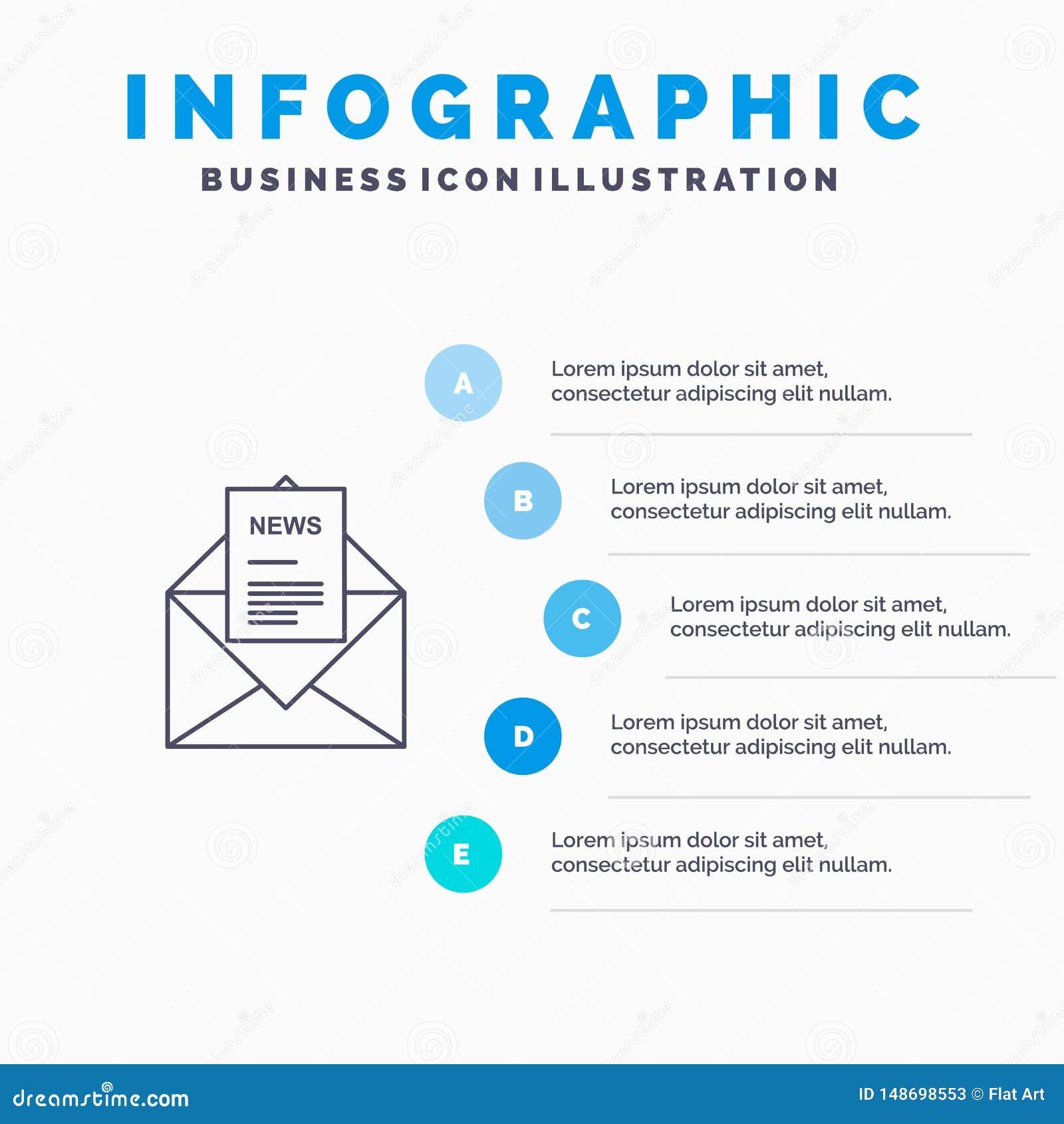 Nachrichten, E-Mail, Geschäft, entsprechend, Buchstabe-Linie Ikone mit Hintergrund infographics Darstellung mit 5 Schritten