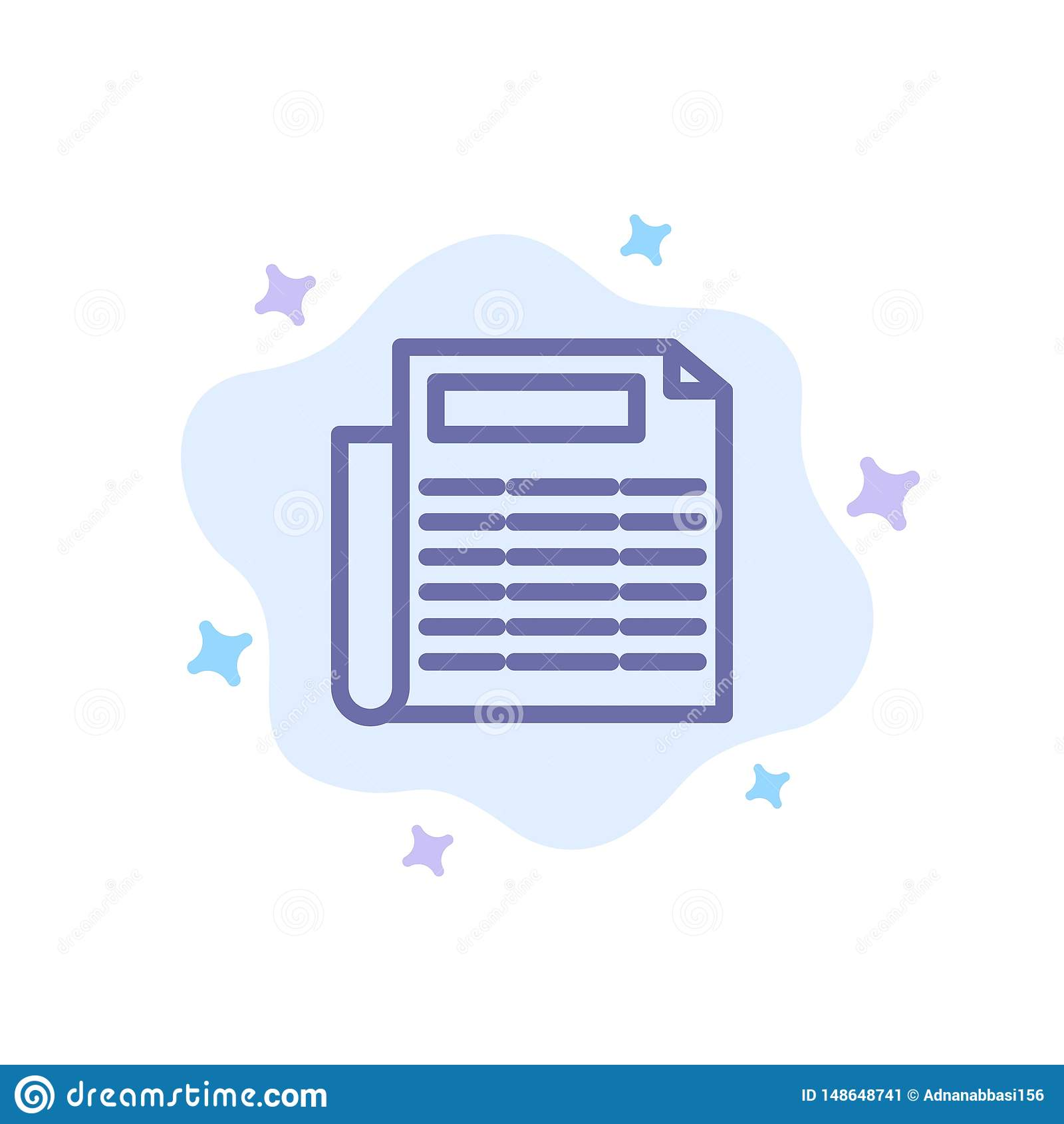 Nachrichten, Papier, Dokumenten-blaue Ikone auf abstraktem Wolken-Hintergrund