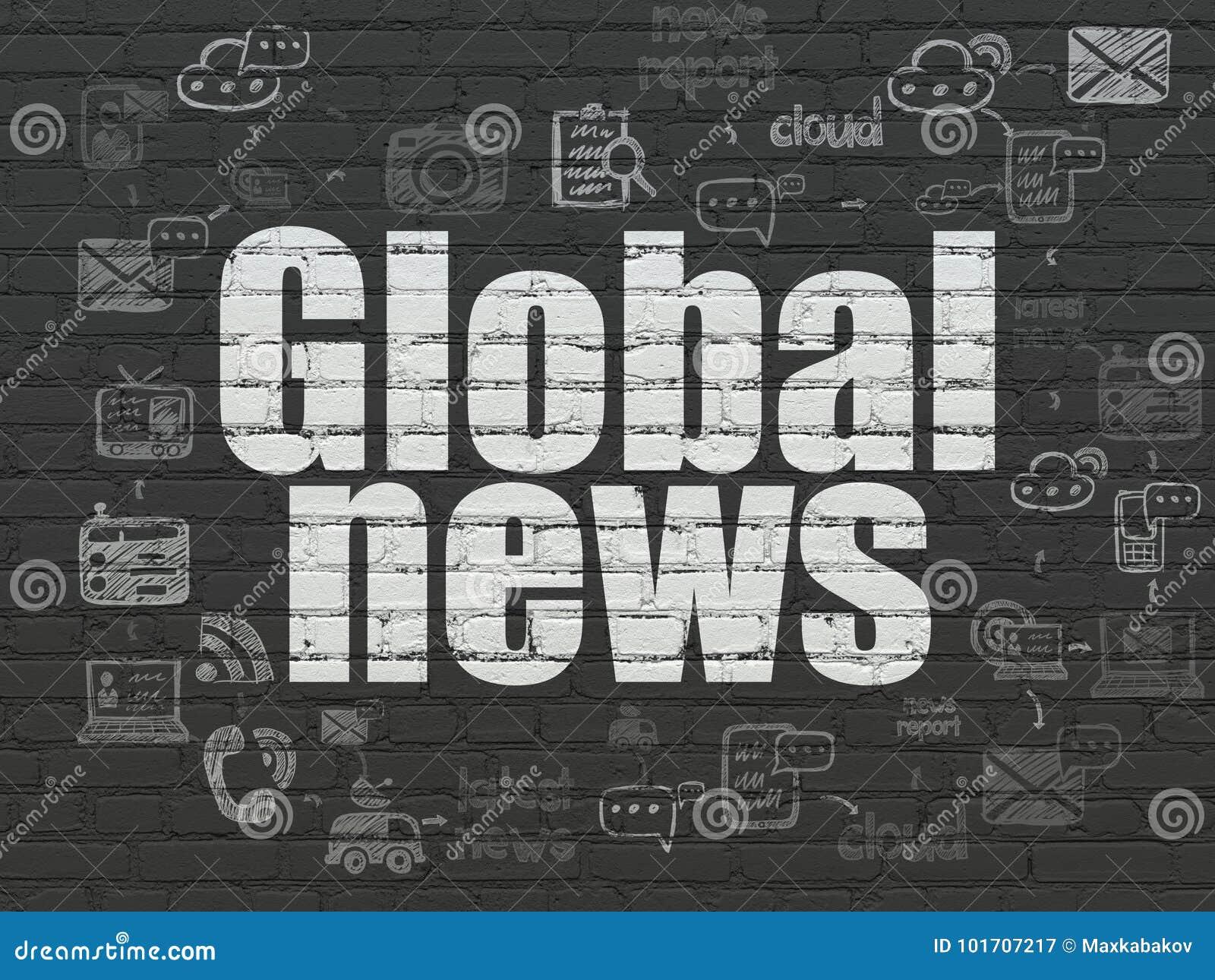 Nachrichtenkonzept: Globale Nachrichten auf Wandhintergrund