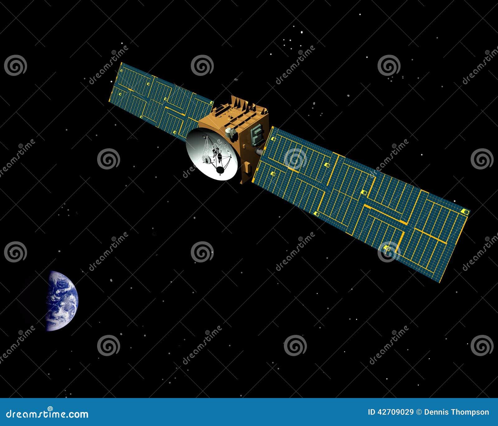 Nachrichtensatellit im Platz