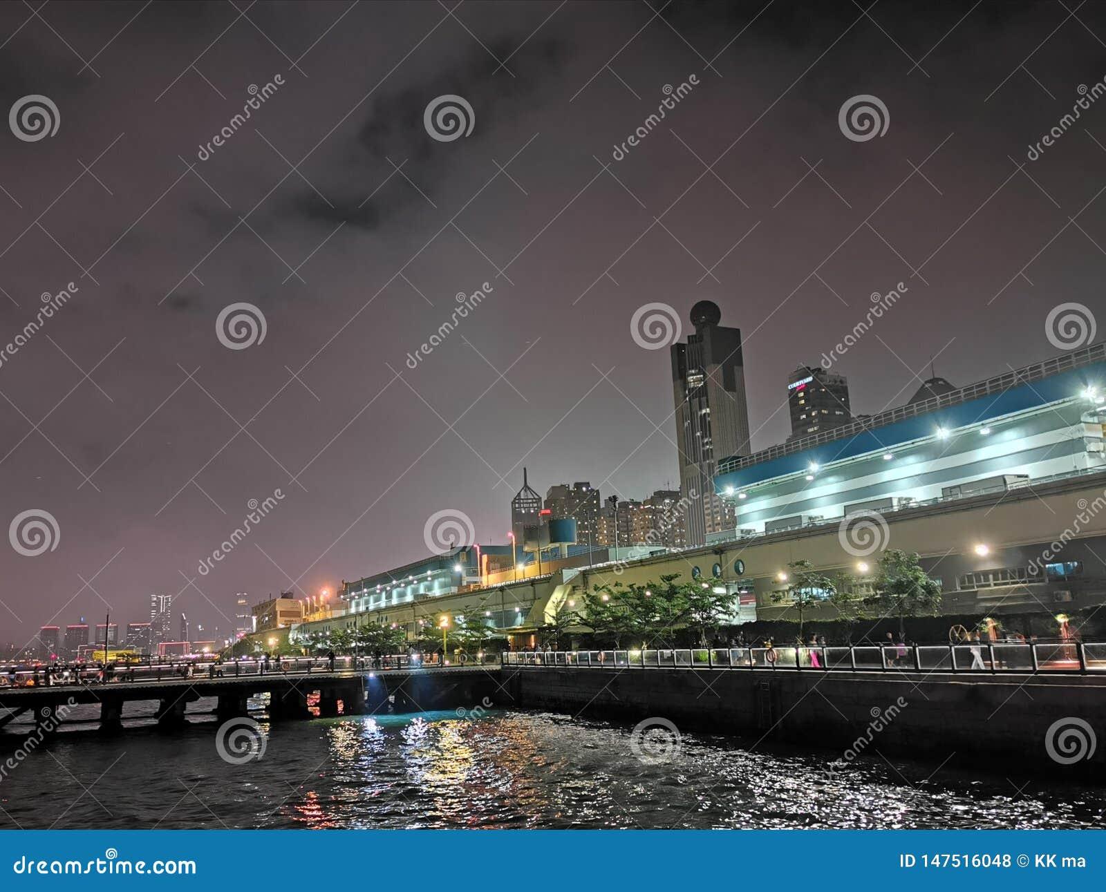Nacht an der Stadt Hong Kong