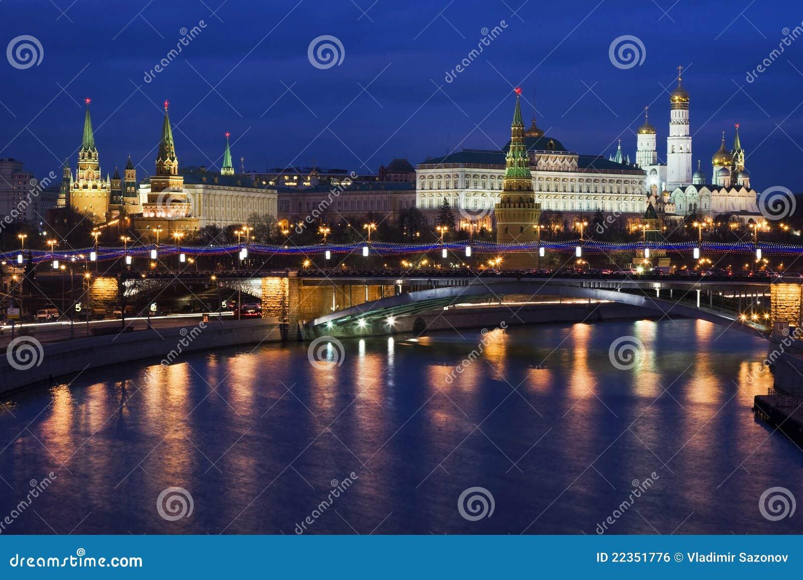 Nacht het Kremlin, Moskou, Rusland