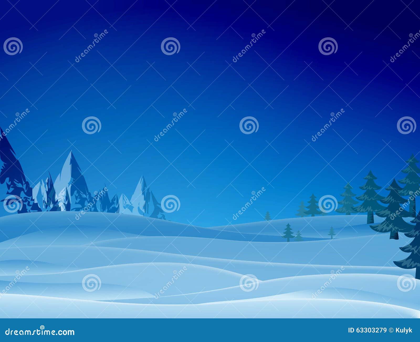 Nacht sneeuwscène met rand en Kerstmisbomen