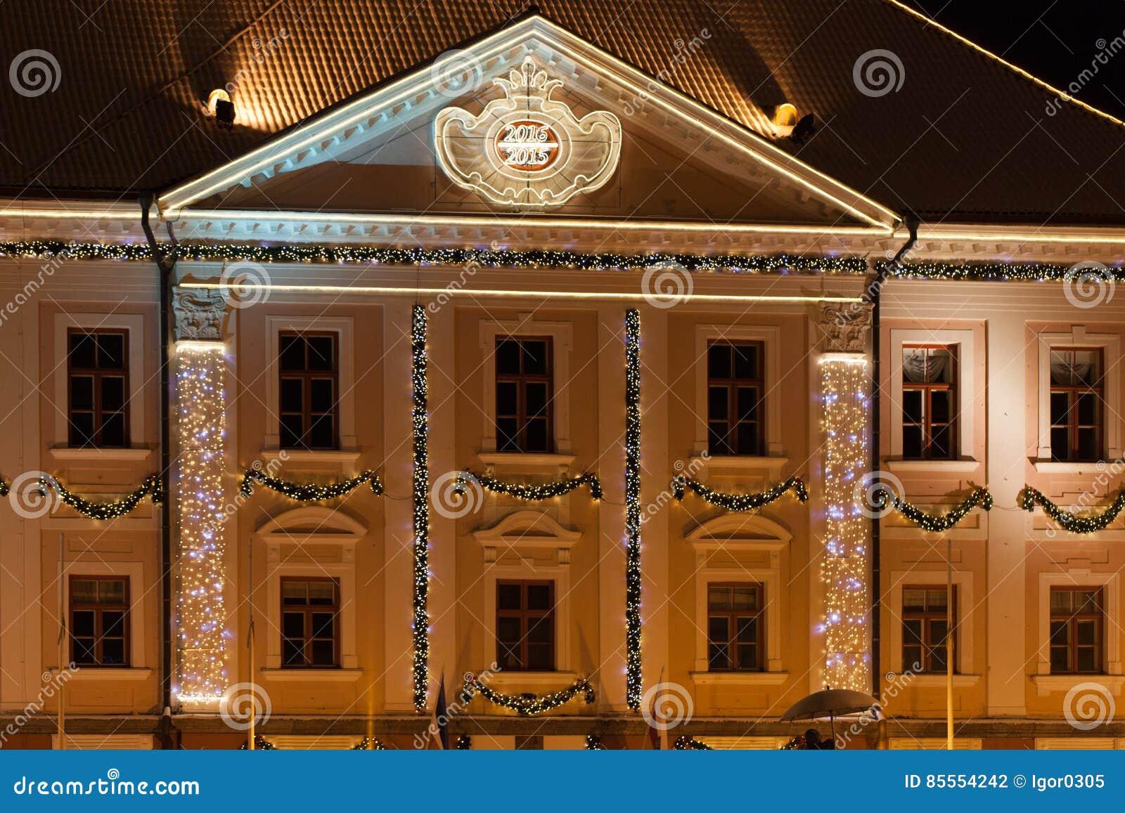 Nacht Tartu Estland Rathaus