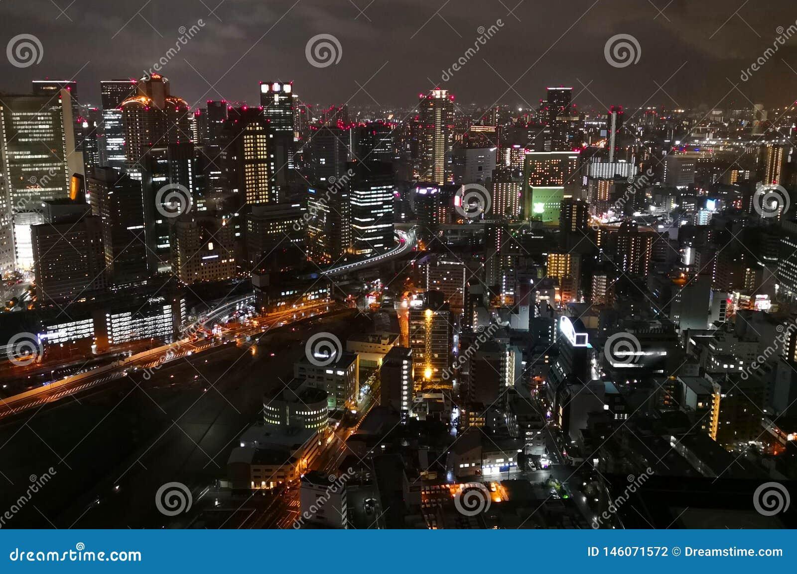 Nachtansicht in Osaka City