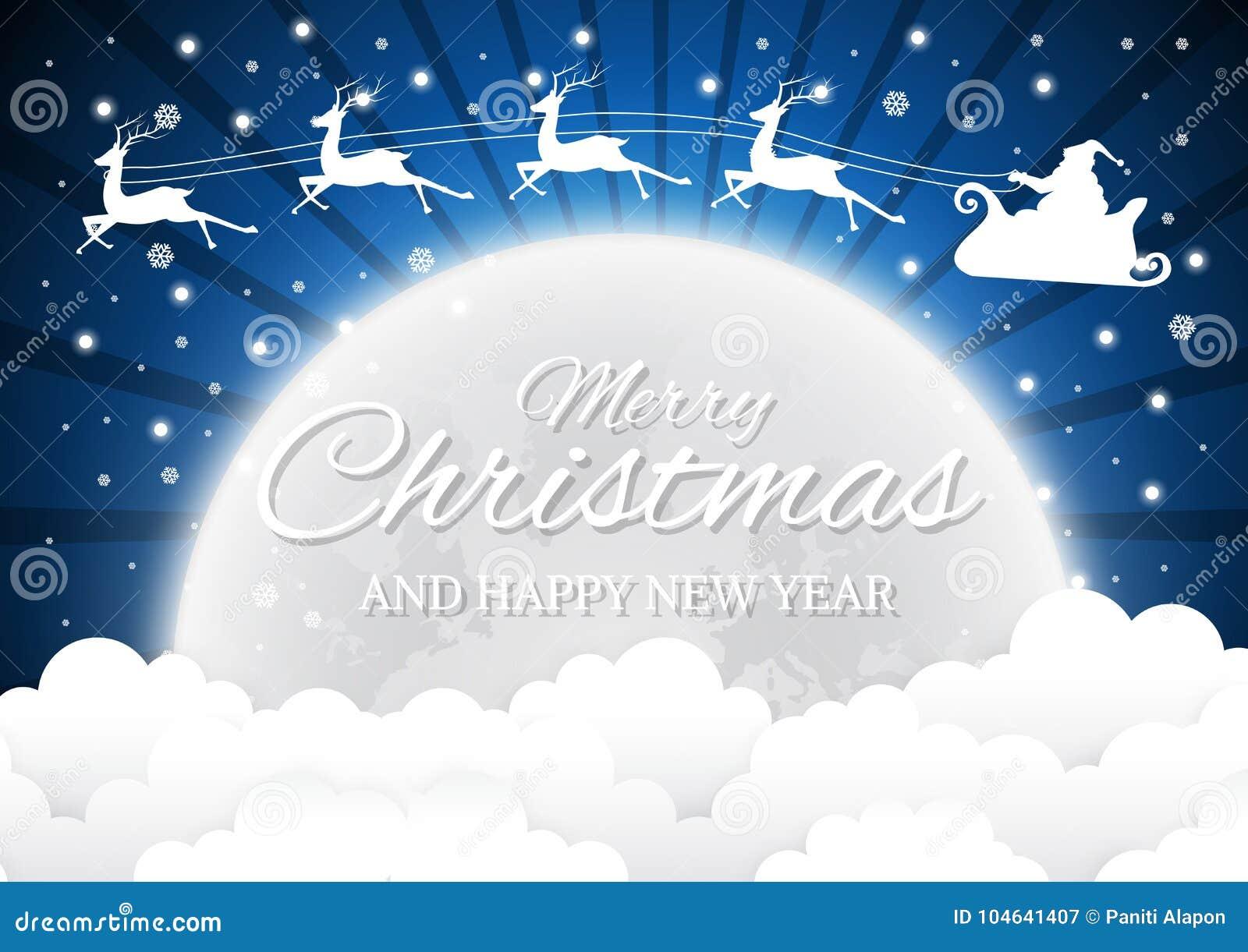 Download Nachthemel Met Santa Claus En Volle Maan, Wolkenachtergrond Vector Illustratie - Illustratie bestaande uit samenvatting, volledig: 104641407