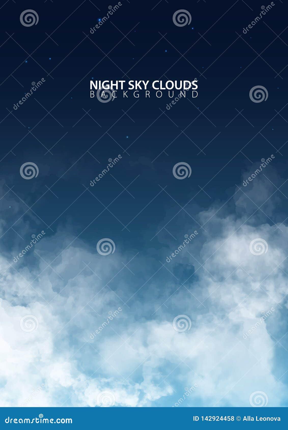 Nachthemel met witte realistische wolken Vector illustratie