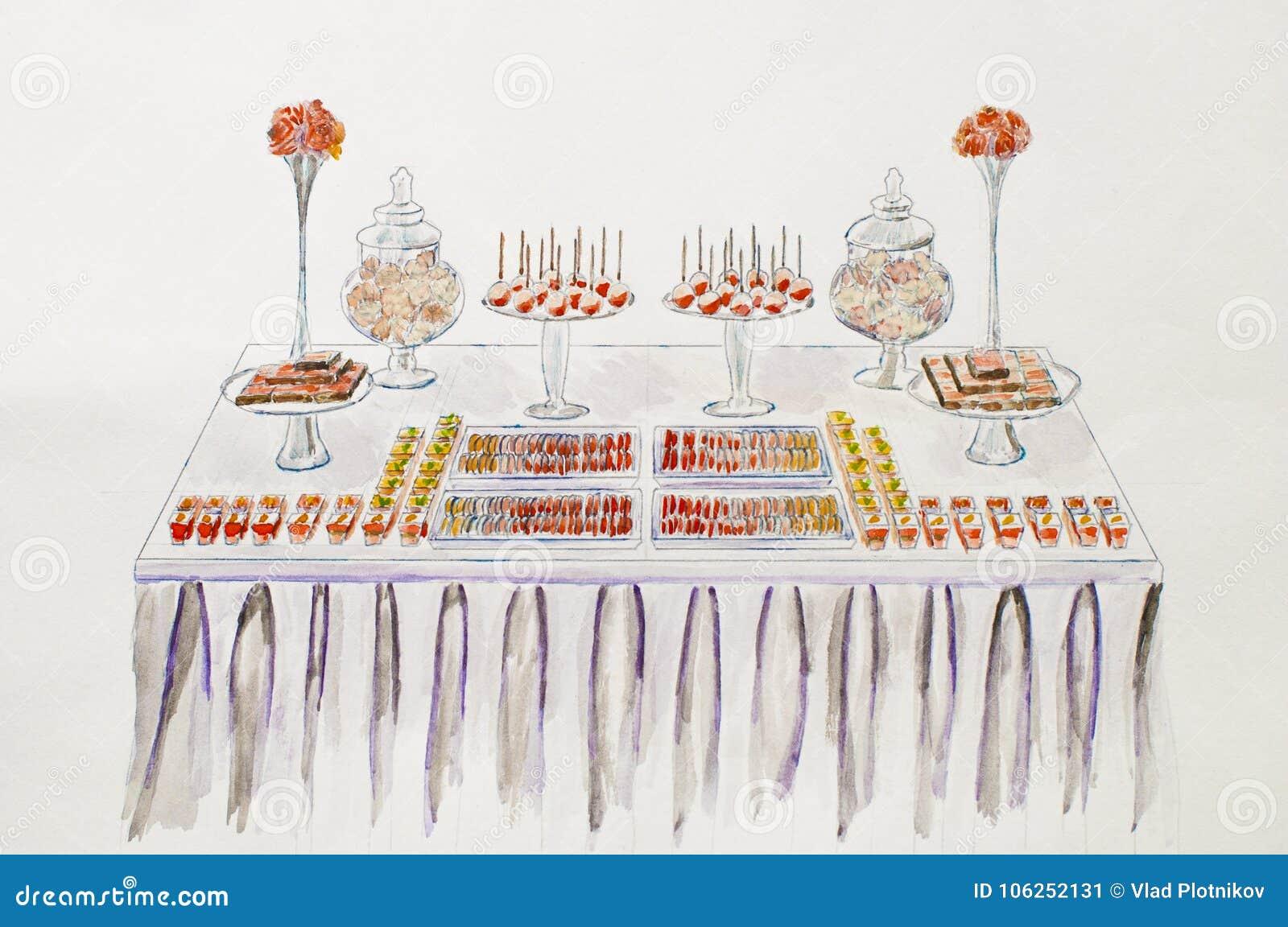 Nachtischtabelle für ein Hochzeitsfest Eine junge Frau in ihrer Unterwäsche Aquarell pictu
