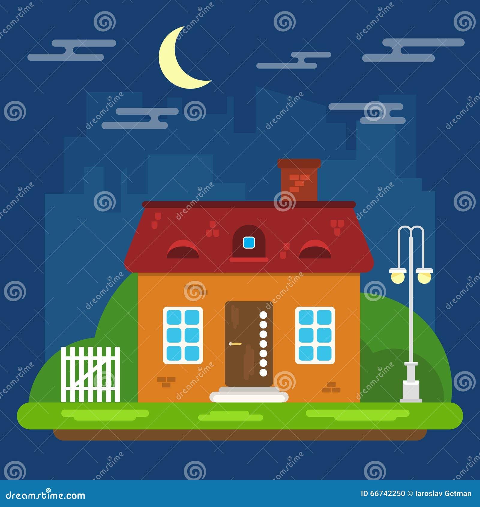 Nachtlandschaft mit Haus in einem flachen Design