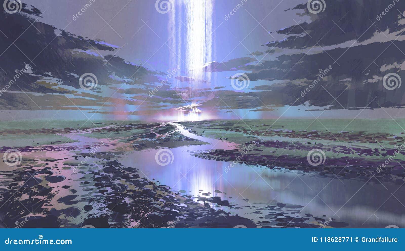 Nachtlandschap van waterval in de hemel
