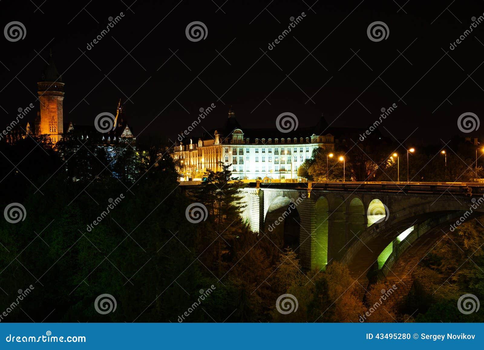 Nachtmening van Adolphe Bridge, de Spaarbank van de Staat