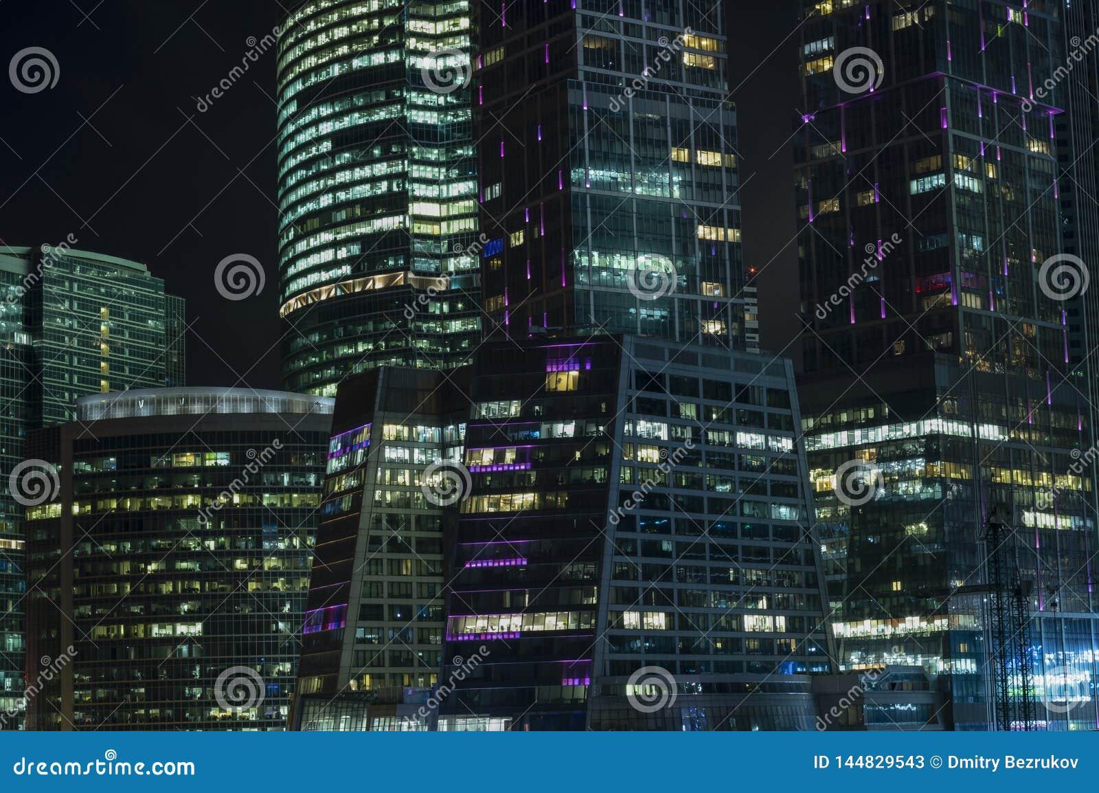 Nachtmening van het Commerciële van Moskou Internationale Centrum